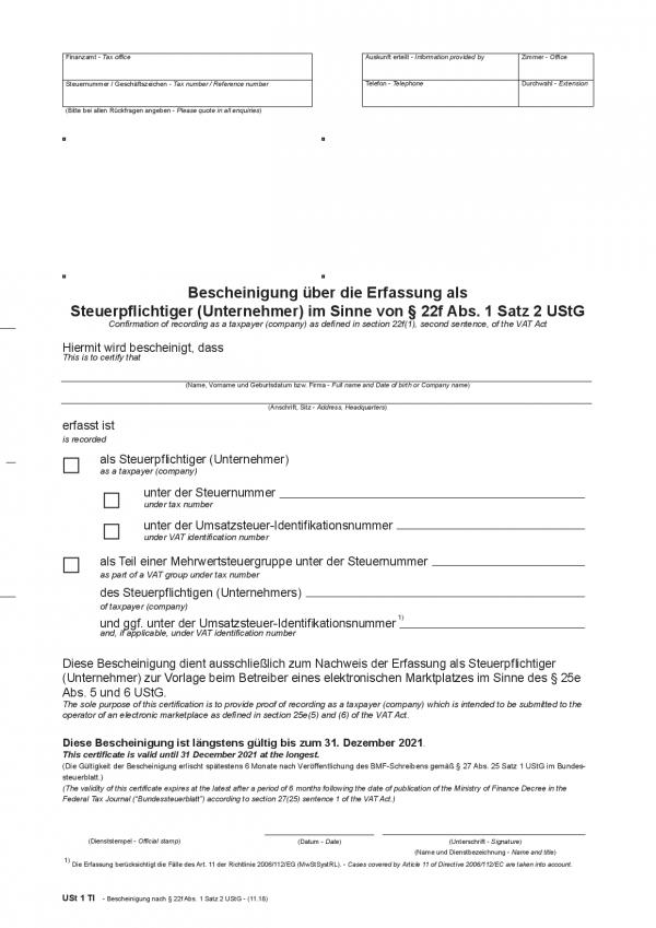 22f-Bescheinigung ENGLISCH www.fba-steuerberater.de